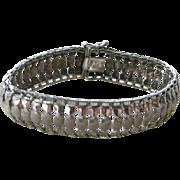 Vintage Sterling Silver Bracelet Wide Links with Fancy Gold Washed Mid-Century
