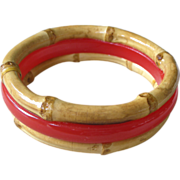 Vintage Bangle Bracelet Red Galalith or Bakelite Plastic and Bamboo