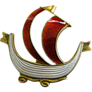 REDUCED Askel Holmsen Norway Pin Red & White Enamel on Sterling Silver Sailing Ship