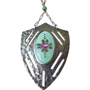 Fine Vintage Deco Sterling Silver and Guilloche Enamel Shield Shape Pendent Necklace