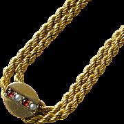 Victorian Era Garnet & Seed Pearl Slide and Twist Chain