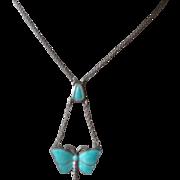 Vintage Aqua Blue Enamel Butterfly & Silver Pendent Necklace
