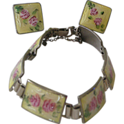 REDUCED 30% OFF SALE!! Fine Deco Bracelet & Earrings Set Yellow & Pink Enamel on Sterling Link