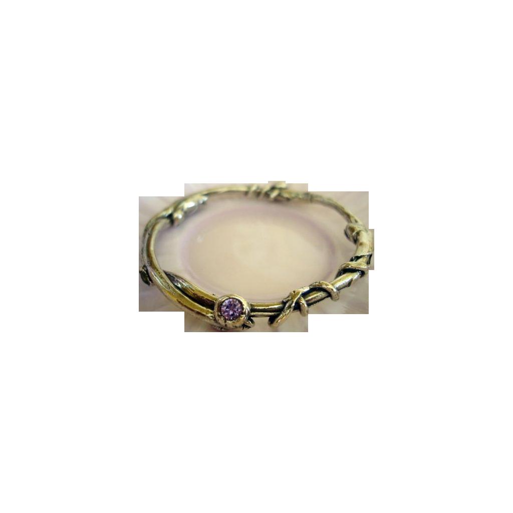 Fine Silver Bangle Bracelet  and Simulated Amethyst  .999 Custom Order