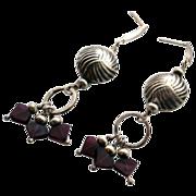 Sterling Silver Bead and Garnet Earrings