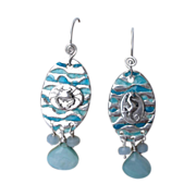 SOLD Enameled By the Seashore Fine Silver Earrings - Peruvian Opals -  Handcrafted