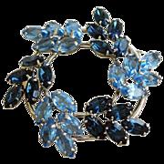 SOLD Vintage Blue Rhinestone Round Brooch