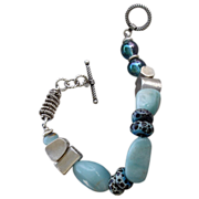 SOLD Aquamarine & Chrysophase, Boro Glass, SS Beaded Bracelet