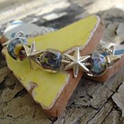 SALE Sterling Silver, Lampwork Beads, Stars Wrap Bracelet