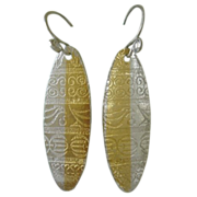 SOLD Fine Silver Shield Pendant Earrings with 24kt  Gold