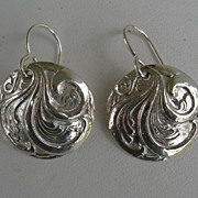 SOLD Fine Silver Scroll Earrings - Handcrafted PMC .999
