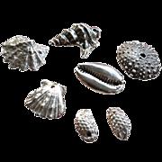 SOLD PMC Silver Seashells & Sea Life Charms – Artisan – 7 pieces
