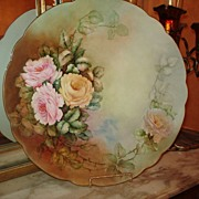Limoges Styled Bavaria Charger with Large Roses Signed