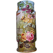 Colossal Royal Bonn Tapestry Scenic Floor Vase With Red/Pink/Yellow Roses and Heavy Gold ...