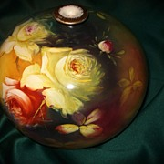 Royal Bonn Ball Vase with Wonderful Yellow and Tea Colored Roses