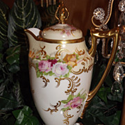 Limoges Fabulous Pedestal Chocolate Pot with Pink/White/Yellow Red Roses & Raised Gold Paste .