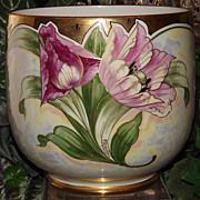 Limoges Rare Barrel Signed Jardiniere with Pink Tulips/Poppies and Gold Trim and Opalescent ..