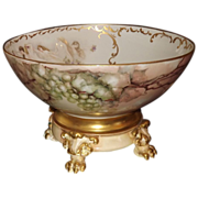 Limoges Huge Punch Bowl Grapes and Rare Nude Scenic Decor with Gold Embellishment and Matching