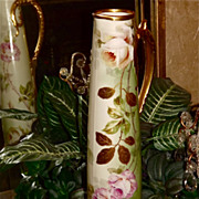 Limoges Huge Pitcher/Tankard Spectacular White/Pink Roses with Fabulous Gold Handle