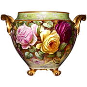 Limoges Exquisite Footed Jardiniere Rare Twisted Handles with Red, Pink and Yellow Roses