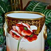 SALE Limoges Poppy and Gold Cache Pot/Vase Signed Listed Artist Oaborne
