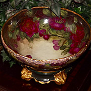 Limoges Fabulous Punch Bowl/Plinth with Grapes and Gorgeous Ruby Red Roses