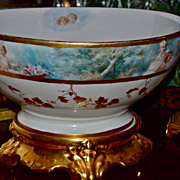 Limoges Incredible Punch Bowl Decorated with Maidens  and Winged Cherubs Sitting Atop Gold ...