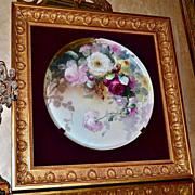SOLD Limoges Huge Framed Plaque/Tray with Breathtaking Roses