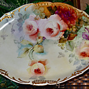 Limoges Huge Signed Platter Decorated with Apricot Roses and Gold Handles