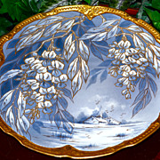 Limoges Large Gold Encrusted Scenic & Floral Charger in Serene Shades of Blue and White