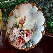 Limoges Large Charger/Wall Plaque with Exquisite Apricot Roses & Gold Encrusted Edge