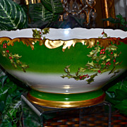 Limoges Large Holly Berry Punch Bowl