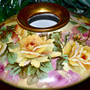 Limoges Enormous Squat Vase Filled with Hand Painted Yellow and Pink Roses