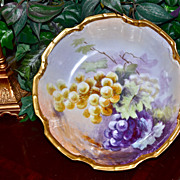 Limoges Center/Master Bowl Hand Painted Purple and Golden Yellow Grapes