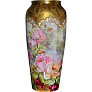 Limoges Tall Incredible Rose Vase with Intricate Gold Damask Like Details Signed Highly ...