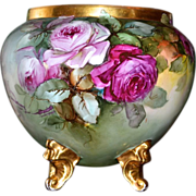 Limoges Exquisite Artist Signed Jardiniere with Pink, Red, Yellow Roses, Four Gold Feet and Go