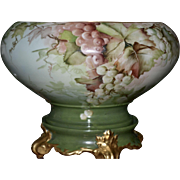 Limoges Artist Signed E. Miler Rare Shaped Grape Punch Bowl Decorated Inside With Birds Sittin