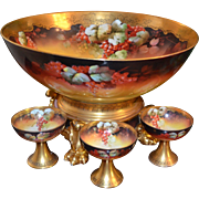 Magnificent Huge Autumn Currant Punch Bowl with Matching Gold Pawed Footed Plinth Signed ...