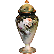 Limoges Reticulated Covered Urn with Romantic Pink and White and Blush Roses