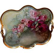 Limoges Breathtaking Large Tray or Wall Plaque Bearing Ruby Red/Pink Roses with Open Handles .