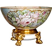 Limoges Romantic Rose and Gold Inspired Hand Painted Exquisite Punch Bowl with Matching Blush