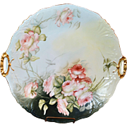 Limoges Large Platter or Open Handled Cake Plate Adorned with Romantic Apricot Roses Signed ..
