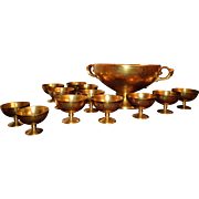 Elegant Pickard Gold Encrusted Cherub Handled Punch Bowl and 12 Matching Cups Museum Quality.