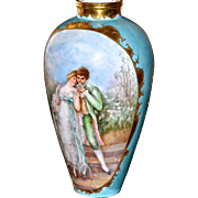 Limoges Huge Two Sided Portrait Vase:  Lovers on Their Wedding Day and Cherubs at Play