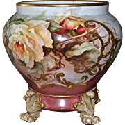 Limoges Gorgeous Jardiniere with Yellow and Apricot Tea Roses and Heavy Gold Embellishments ..