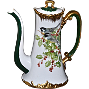 Limoges Wonderful Signed Holly Berry Chocolate Pot Decorated with the Addition of a Duo of ...