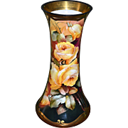 Limoges Huge Vase with Vibrant Colors and Yellow Roses Signed Listed Master Pickard Artist M .