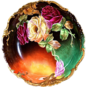 Limoges Stunning Bowl With Vibrant Colors Covered in Red and Yellow Roses Signed Master Artist