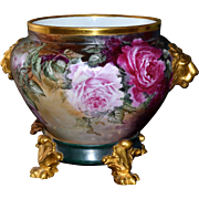 Limoges Signed Jardiniere/Plinth with Lion Handles and Dramatic Coloring Covered in Pink and .