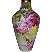 Limoges Spectacular Huge Hand Painted Signed Vase with Superbly Executed Pink and Red Roses